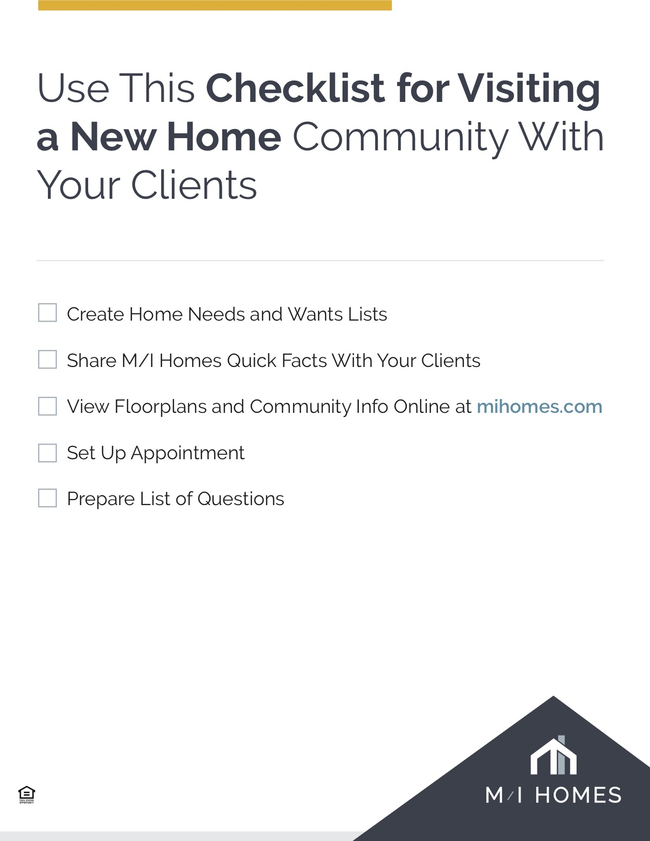 Visiting a new Home Community Checklist